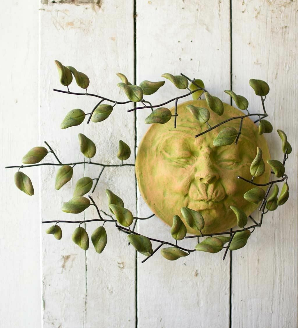Sun Face Wall Art Metal Ceramic Leaves Hanging Decor Indoor Outdoor ...
