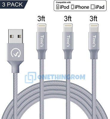 3Pack 3FT Lightning Cable Heavy Duty Fast Charger Charging Cord for iPhone 8 7 6