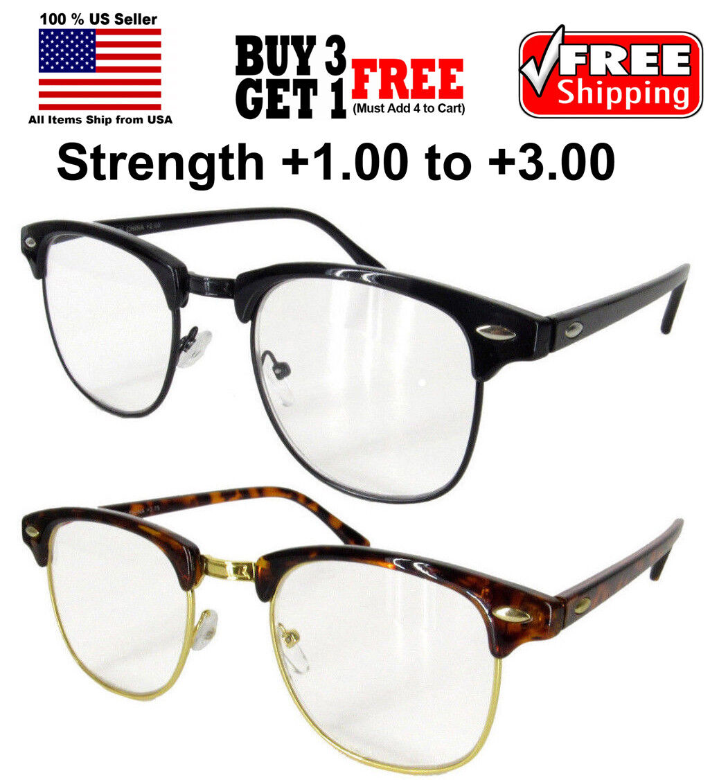 Vintage Horned Rim Half Frame Semi Rimless Clear Lens Reading Glasses Health & Beauty