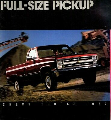 Big 1987 Chevy PickUp Truck Brochure w/ Color Chart: 4x4,SILVERADO,SCOTTSDALE,