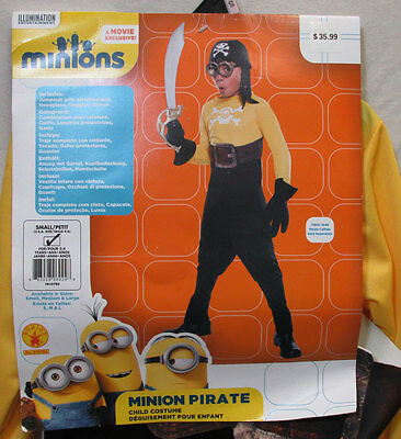 Minion Pirate Halloween Costume Outfit Rubies Jumpsuit Goggles Movie Small 4-6