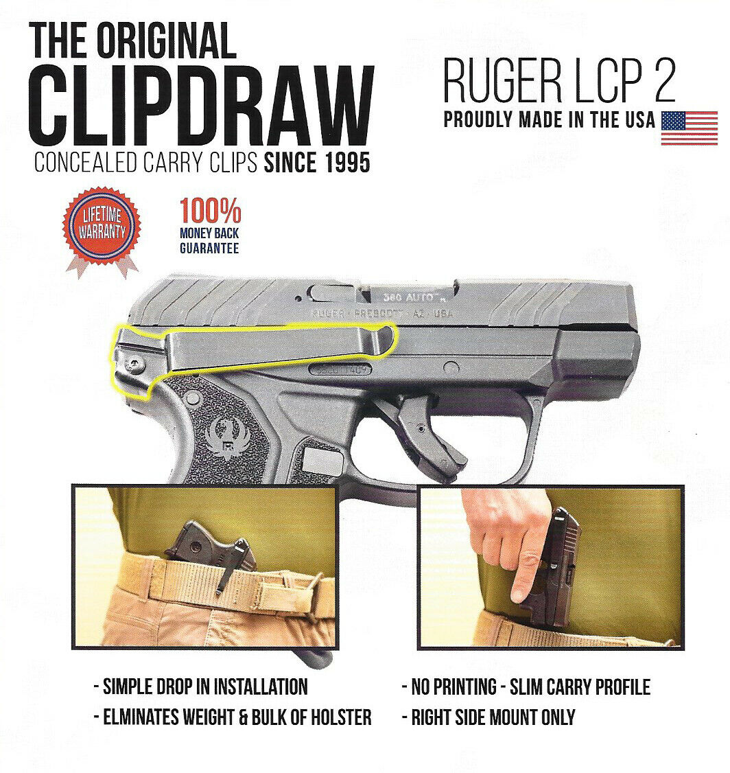 Clip Draw for Ruger LCP Concealed Carry IWB Belt Clip Holste