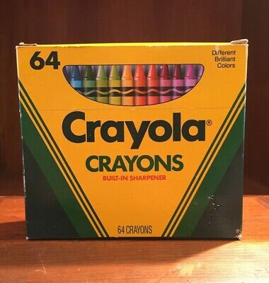 Vintage 1990 NEW Crayola Crayons 64 Built In Sharpener Retired Colors Nice Shape - 64 Crayola Crayons