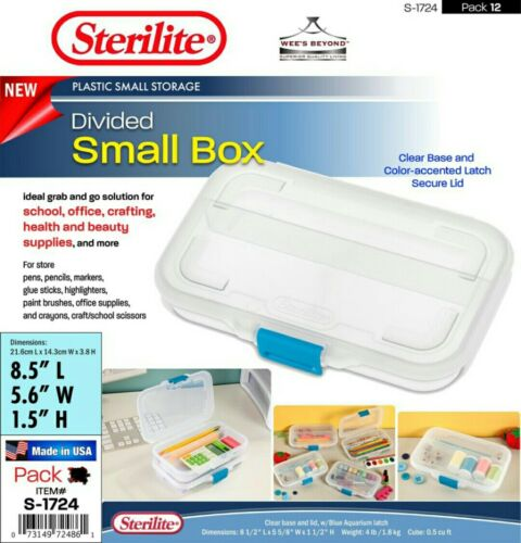 Sterilite 17248612 Small Divided Box, Clear Case with Blue L