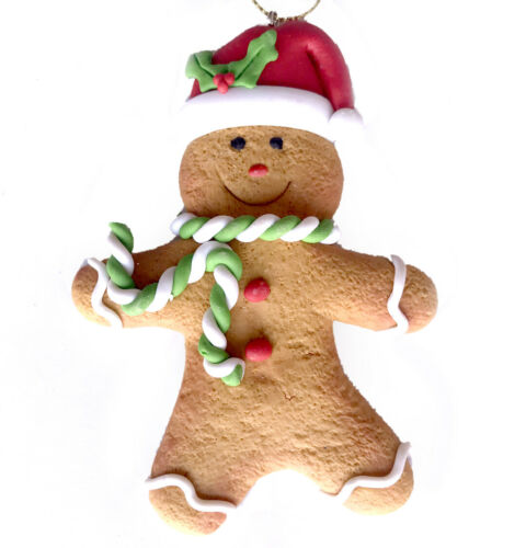 Gingerbread Man Cookie Christmas Ornament Fake Food Green Scarf R