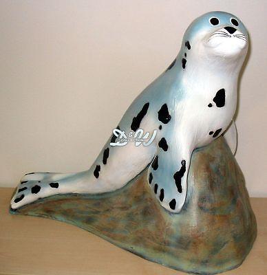 SEEHUND auf FELS ROBBE 49 cm Deko Garten Tier Figur Skulptur Teich DEKORATION