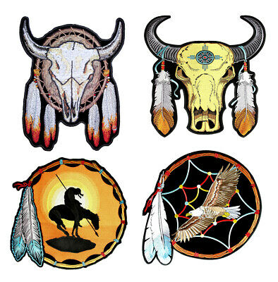 Set Of Native American Steer, Eagle Indian Dream Catcher Embroidered Patches