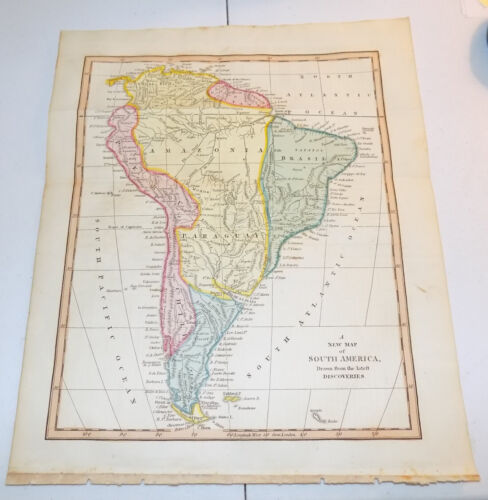 1817 Antique COLOR Map by Cooke///SOUTH AMERICA