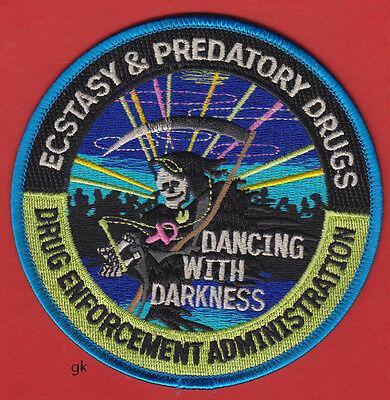DEA ECSTASY ECSTACY & PREDATORY DRUGS POLICE DRUG ENFORCEMENT SHOULDER PATCH