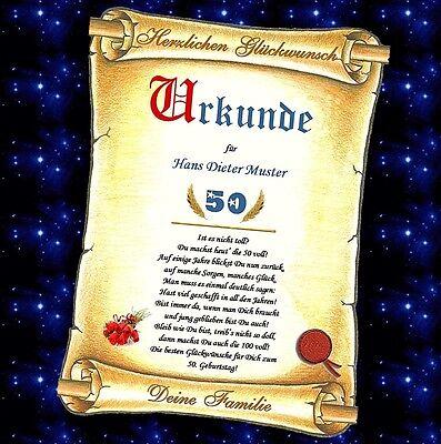 Urkunde zum Geburtstag 30 40 50 60 70 80 90 Geburtstagskarte Geschenk Jubiläum 70