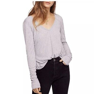 Intimately Free People Womens Rock The Boat Gray V-Neck T-Shirt Top M BHFO 4706