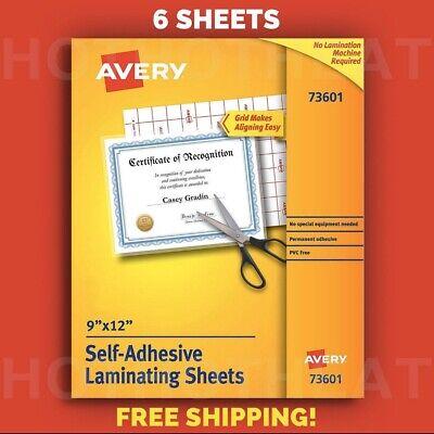 6 Avery Self-adhesive 9 X 12 Clear Laminating Sheets 73601 Permanent Adhesive