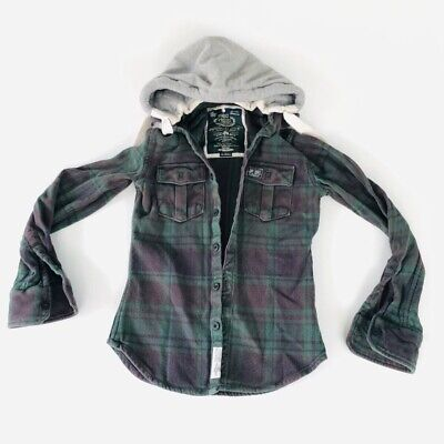 SUPERDRY Rookie Plaid Shirt Milled Green Flannel Cafe Hoodie Size Medium 30D