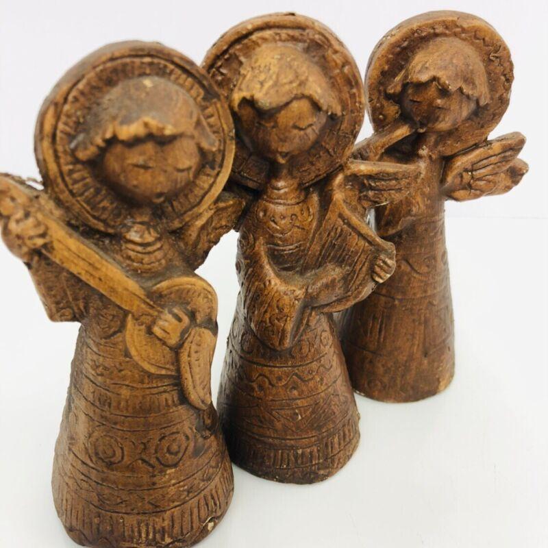 Italy Christmas Angel Trio Musical Instrument Vintage Figurine Ornament Set of 3