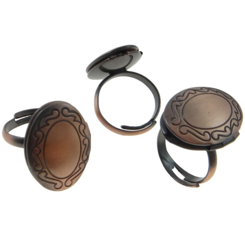 Wholesale Lot 12 Copper Tone Inscribed Swirl Adjustable Photo Locket Rings