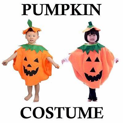 Vegetable Dress For Kids (PUMPKIN COSTUME KIDS CHILD HAT CAP ORANGE VEGETABLE HALLOWEEN FANCY DRESS)