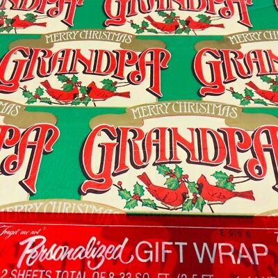 Vintage Christmas Gift Wrap Paper GRANDPA American Greeting Personalized Family  ()