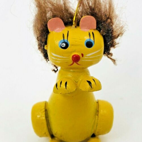 Vintage Lion Wood Christmas Ornament Kitschy Kitty Yellow