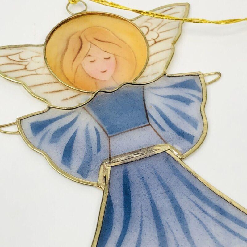 "Angel Capiz Shell Christmas Ornament Gold Trim Halo Winged 4"""
