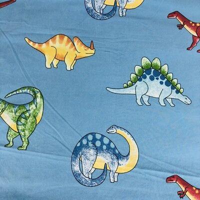 The Company Store Kids Full Size Cotton Flat Sheet Dinosaur Bedding Blue Dino (Company Store Kids Bedding)