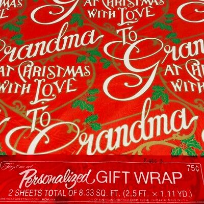 Vintage Christmas Gift Wrap Paper GRANDMA American Greeting Personalized Family  ()