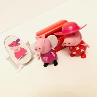 PEPPA PIG TOY Bundle Peppas Dress Up Box  & Mirror FIGURES PLAYSET (Disney Princess Dress Up-box)