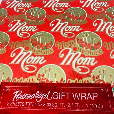 Vintage Christmas Gift Wrap Paper MOM American Greetings Personalized Family  ()