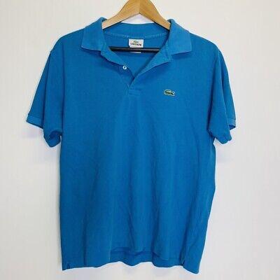 Lacoste Men's S/S Polo Shirt Size 4 Short Sleeve Blue 100% Cotton Classic EUC