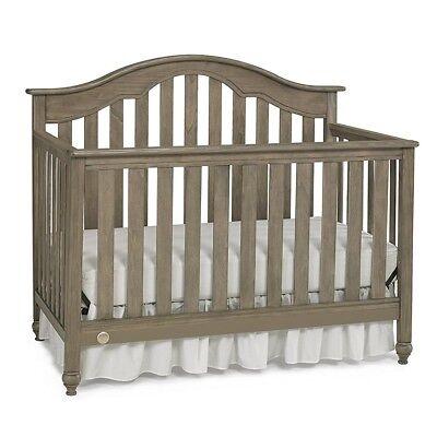 Fisher Price Kingsport 5 in 1 Convertible Elegant Baby Nursery Crib Vintage Grey