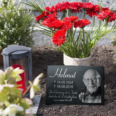 Grabstein Schiefer Grabplatte Gedenktafel eigenes Bild 20x30 *online gestalten*
