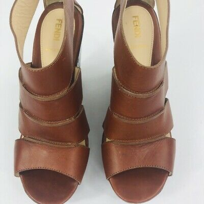 FENDI Wedge Heels SZ 38. 5 (8.5) Platform Mid Tan Leather Stacked Total ZIP/Heel