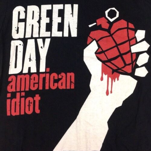 Green Day T-Shirt American Idiot Graphic Tour Concert Band Rock Tee Black Size M