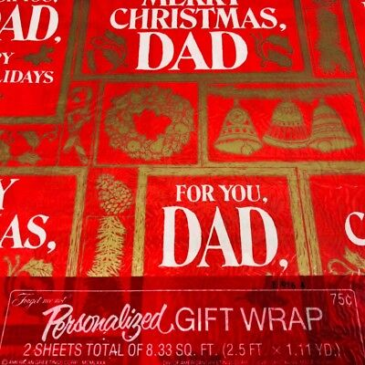 Vintage Christmas Gift Wrap Paper DAD American Greetings Personalized Family  ()
