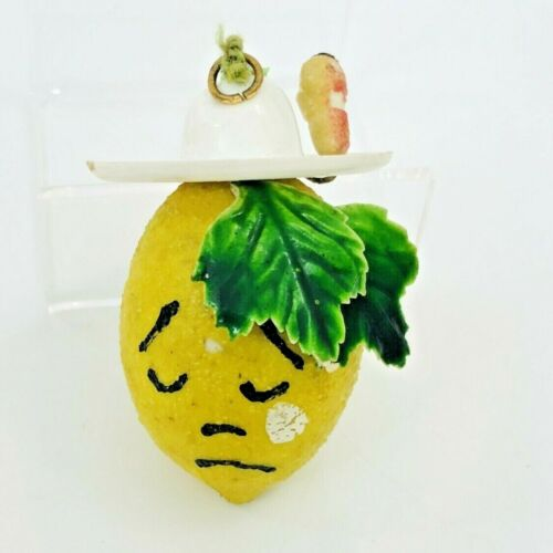 Sad Lemon Cowboy Christmas Ornament Kitsch Fruit