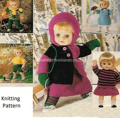 """VINTAGE KNITTING PATTERN FOR EASY TO KNIT DOLLS CLOTHES - NO SHAPING - 16"""" DOLL"""
