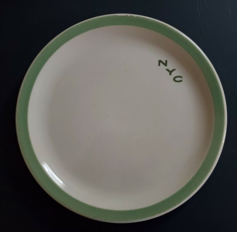 """New York Central Railroad China 10"""" Pacemaker Green Plate"""
