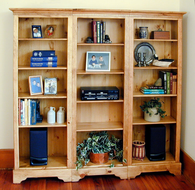 Beautiful Pine 3pc Shelving Unit, 4 Adjustable Shelves each, MADE IN USA