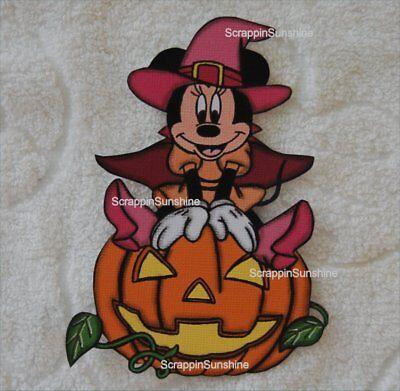 DISNEY HALLOWEEN Minnie Witch on Pumpkin Printed Scrapbook Paper Piece - SSFFDeb