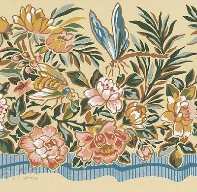 Dragonfly Flower Bumble Bees Blue Ribbon Cornsilk Wall Border Floral Wallpaper -