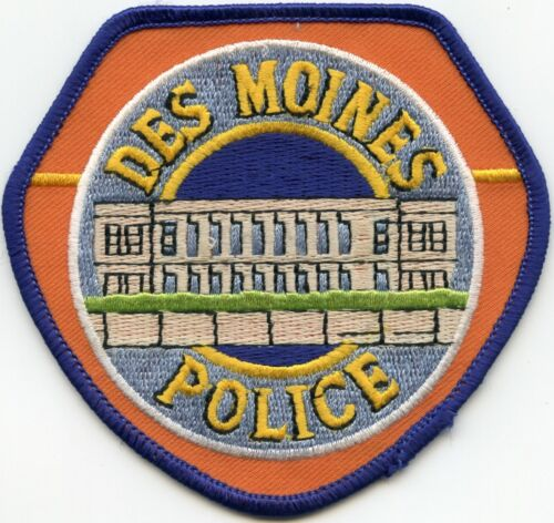 DES MOINES IOWA IA orange background POLICE PATCH