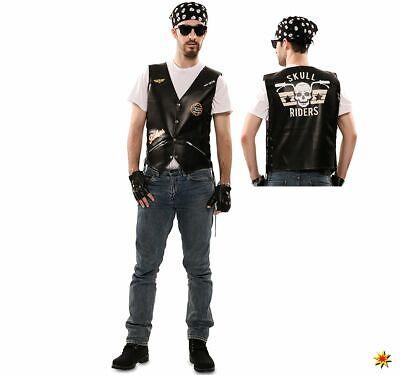 Herren Kostüm Motorradfahrer Rocker Skull Rider Gr. 52, - Motorrad Fahrer Kostüme