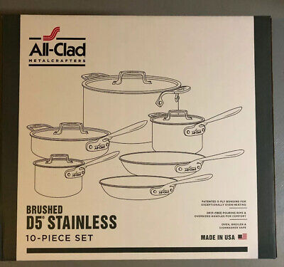 ALL-CLAD D5 BRUSHED STAINLESS STEEL 10PC COOKWARE SET BD005710-R NEW BEST