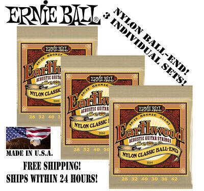 *3 SETS! ERNIE BALL EARTHWOOD 80/20 NYLON BALL-END ACOUSTIC GUITAR STRINGS 2069*