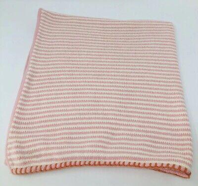 - Blabla Baby Blanket Little Boat Rose Pink White Stripe Hand Knit Cotton Peru