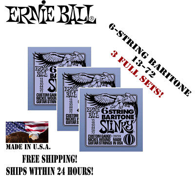 *3 SETS ERNIE BALL 6 STRING BARITONE SLINKY 2839 ELECTRIC GUITAR STRINGS 13-72*