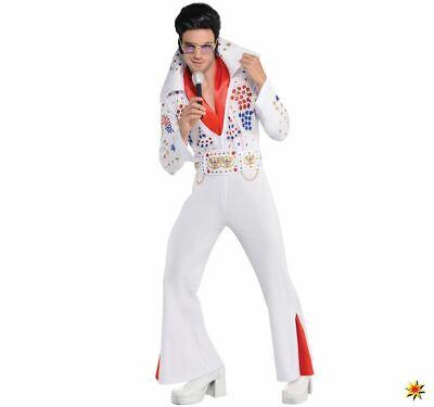 Herren Kostüm Musiker Elvis Rockstar Gr. M/L weiß - Elvis Kostüm