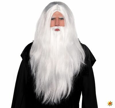 Weiße Perücke und Bart Set Zauberer Druide Onesize Kostüm-Zubehör Fasching