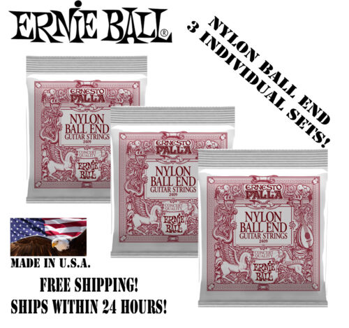 *3 SETS ERNIE BALL BLACK AND GOLD NYLON BALL END CLASSICAL GUITAR STRINGS 2409*