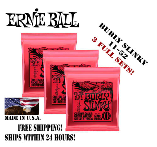 ** 3 SETS ERNIE BALL BURLY SLINKY 2226 NICKEL ELECTRIC GUITAR STRINGS 11-52 **