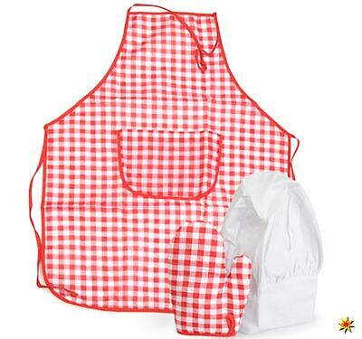 Kinder Kostüm Koch Bäcker Schürze mit Handschuh und Mütze Onesize - Koch Kostüm Kinder